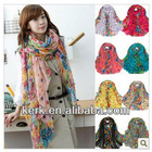 Wholesale Stocks Sale!! 2012 Fashion Flower Design 100% polyester Soft touch Shawl Scarf, Large Size, Can be Hijab