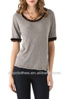Sport t Shirt Elbow Sleeves Casual Custom Blouse/Top/Women Apparel Spanish Clothes Wholesale