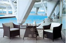 1+2 black Rattan coffee table and chairs