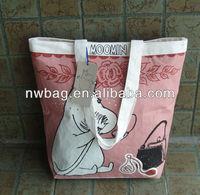 2013 Leisure Printing Canvas Zipper Shopper Bag,zipper canvas bags plain,zipper canvas tote bags