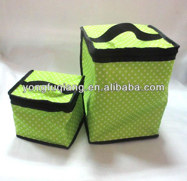 Green fashion polyester bottle wine cooler bag