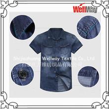 men cotton denim shirt with short sleeve