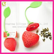 Red heart shaped tea infuser silicone rubber,unique design silicone tea dipper