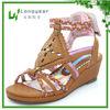 Tan Girls Wedge Heel Sandals