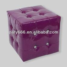 pouffe,ottoman,stool/PU leather ottoman with diamond