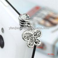 IP210 Decorative Rhinestone Butterfly Dust Plug Earplug Jack for Women Phone Accessories