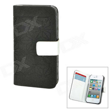 Decorative Pattern Protective PU Leather Case w/ 2 Card Slots for iPhone 4 / 4S - Black + White