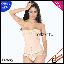 Beautiful girl pink jacquard lovely sweetheart corset