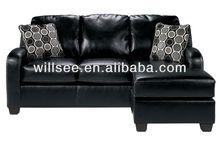 QY-1030,High Quality Classic Three-Seat Corner Leather Sofa (Black)
