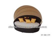 rattan outdoor garden furniture wicker round sun bed