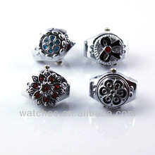 Charms Lots 4pcs Lady's Lovely Stainless Steel Rhinestone Watch Rings Perfect