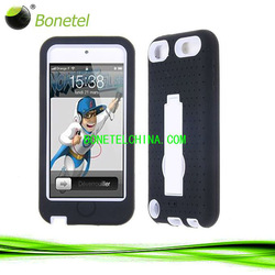 hybrid case with kickstand black skin with white cover for Ipod touch 5