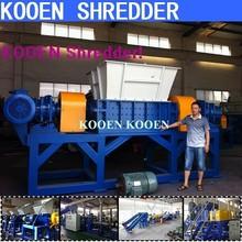 KOOEN automatic metel aluminum rubber timber waste plastic film container bottle shredding shredder machines for sale