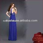 ladies one shoulder elegant blue dinner evening dress