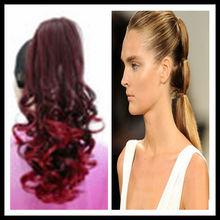 Wholesale stock fashion style natural looking human hair braid drawstring ponytail