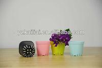 2013 cheap small plastic flowerpot colorful decorate family beautiful plastic flower pot-hole bottom round pot