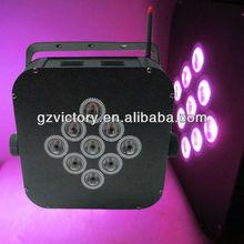9*3w rgbw 4in1 wireless and battery flat par
