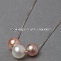 2013 ultima moda articoli da regalo fatto di tre forma rotonda perle e catena in argento