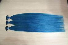 blue color keratin I tip hair human hair Italian glue prebonded human remy hair extension