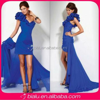 Fashion One Shoulder Royal Blue Chiffon Cocktail Dress