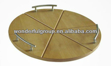 round wooden cheese cutting/ chopping board with stainless handle
