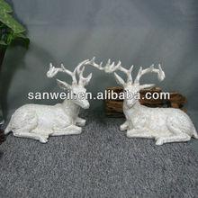 Resin Christmas White Deer Decorative