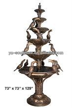 Copper water garden fountain of 5 Tier 6 Bowl Birds GBFN-E011