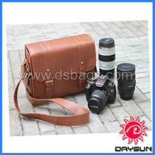 Vintage brown PU Leather camera shoulder bag