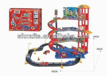Plastic Parking Slot Car Toy railway car,Funny car parking lot games toys for children