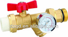 brass ball valve with pressure gauge for manifold