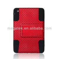 Tablet case mesh kickstand silicone pc case for ipad mini, for ipad case silicone pc, for ipad mini case