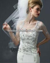 2012 Hot Sale Ivory Illusion Neckline Embroideried Short Sleeve Beaded Crystals Sheer Back Floor Length Autumn Wedding Dresses