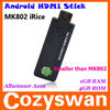 smallest mini pc! Android4.0 Allwinner A10 mini PC Google TV BOX IPTV net tv player MK802 iRice android HDMI stick