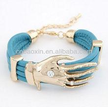 New style hand shape PU leather bracelet