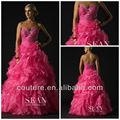 2014 nueva moda un- línea de novia sin tirantes abalorios cuello volante organzanuevo cremallera caliente de color rosa para adultos cenicienta vestido de fiesta pd084