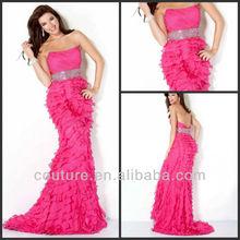 Crazy hot sheath strapless beaded empire hot pink chiffon ruffles prom dresses 2014 ed073