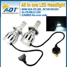 The New 4rd generation 80w 6000lm Car LED Conversion kit H4 high low beam 6000K LED Headlight Kit for cars