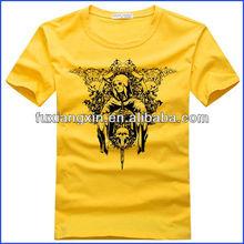 Organic Cotton Bulk Men Fancy T-shirt,round collar yellow t-shirt