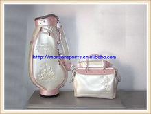 elegant pu new design colorful golf bag black white fashion