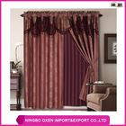 2PCS Yarn Dyed Jacquard Window Curtain Set With Attached Valance and Lining