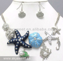 2013 New Design Shell and Starfish Oceanic Necklace and Earring Set Jewelry Products (SWTN114)