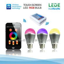6w e27 b22 (option) auto led bulb through intelligent terminal control rgb led wifi bulb magic