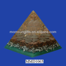Large antique triangle orgone polyresin energy pyramid