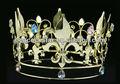 "Atacado fleur de lis 5"" círculo completo simulado sapphire ouro rei/coroa de rainha ct1719"