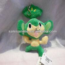 Anime Pokemon Pocket Monsters Green monkey Plush Doll Keychain 5.5 inch