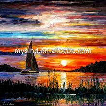 Tela seascape pintura pôr do sol em óleo