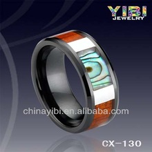 Special Black Ceramic Ring Natural Wood and Abalone Shell Inlaid ,Beveled Edges & Polish Shiny, Flat Surface Design