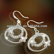 two pieces of four leaf clover vivia details gemstone silver jewelry fashion dangle earring