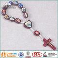 católica santo una variedad de fotos de madera ovalada de una década de rosario
