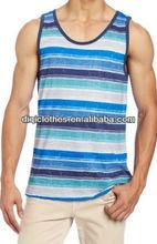 Men printed stripe jersey tank tops 2013